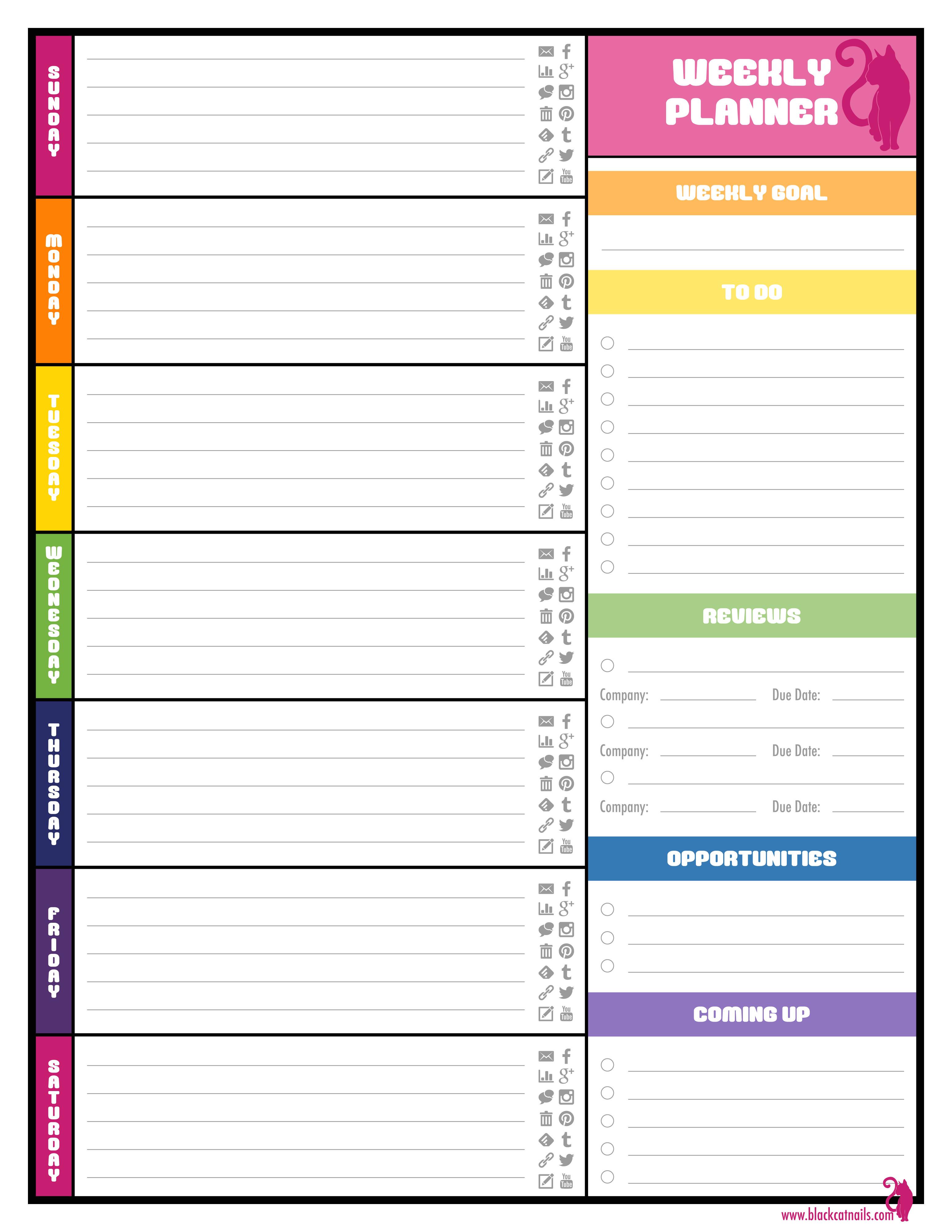 Week organizer Template Colorful Weekly Blogging Planner Blogger Calendar