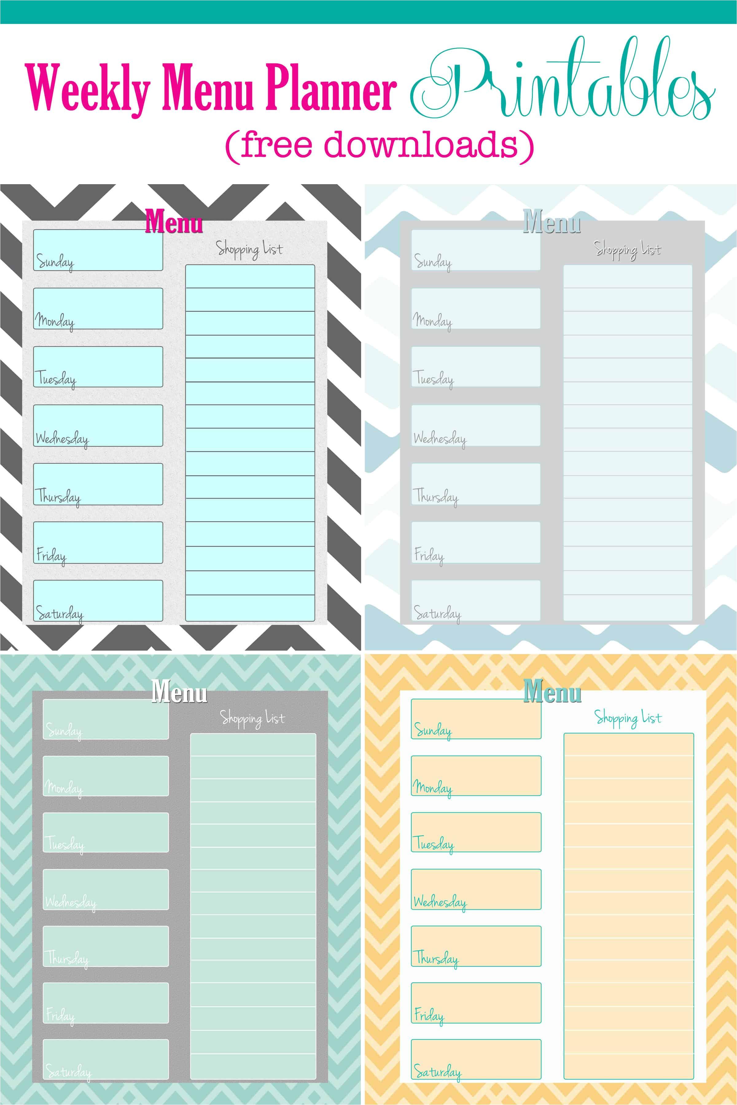 free weekly menu planner printable 4