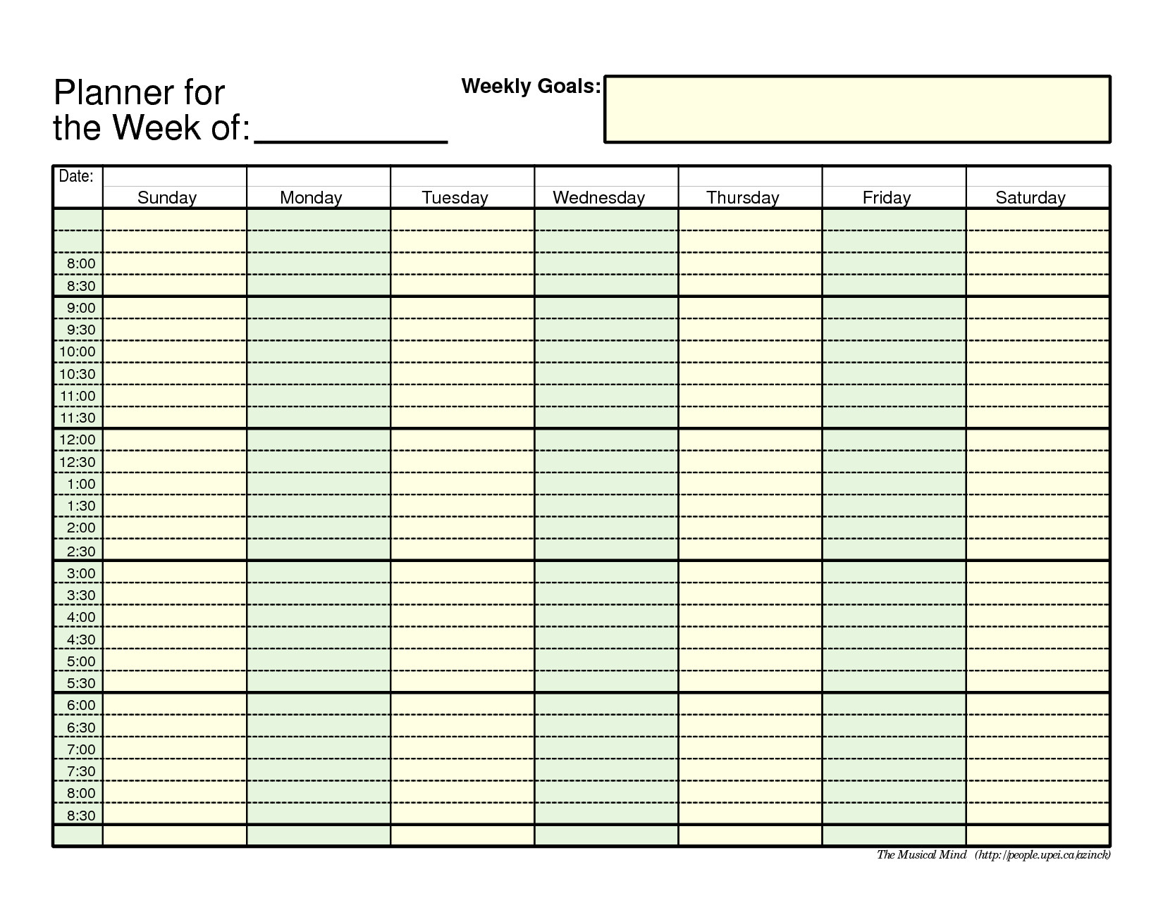 Week organizer Template Printable Weekly Planner Template Weekly Planner