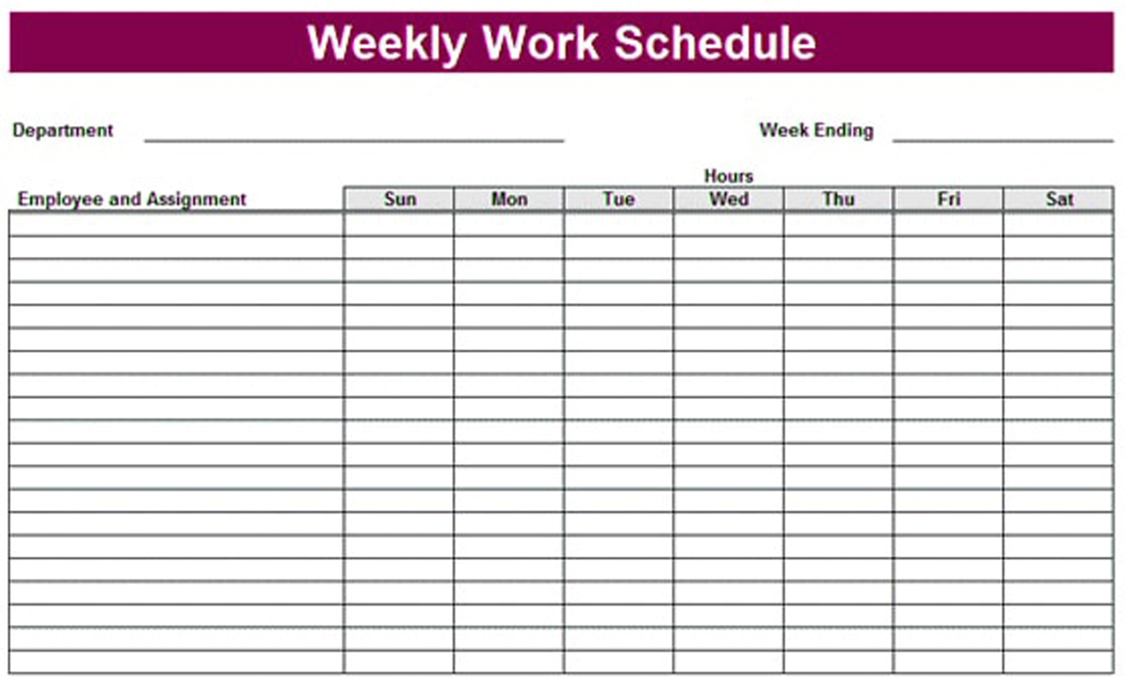 printable weekly schedule template excel planner template