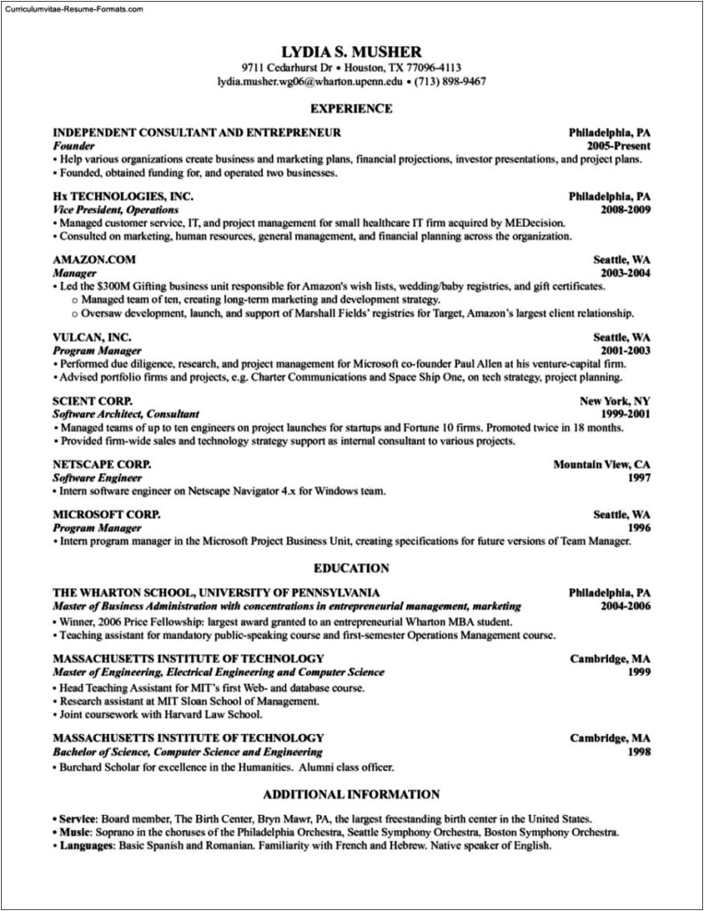Wharton Cover Letters Wharton Resume Template Free Samples Examples format