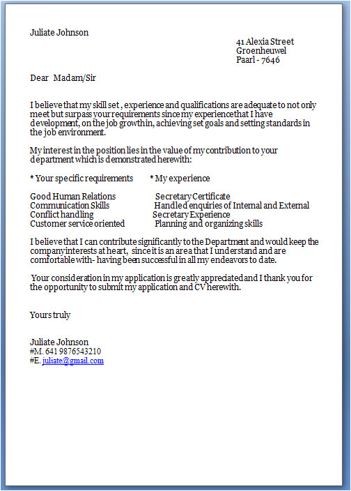 job cover letter template