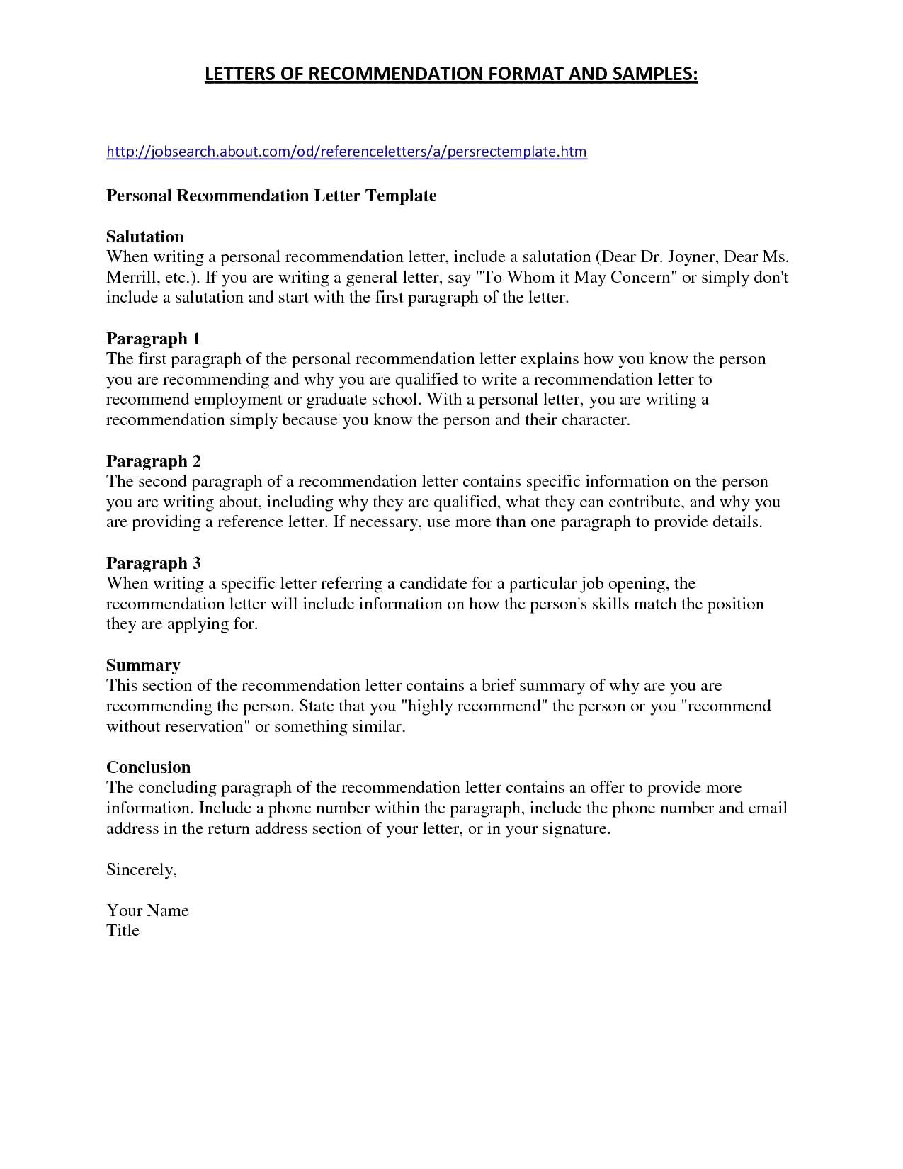 What Does Recipient Mean On A Cover Letter Personal Recommendation Letter Template Free Samples