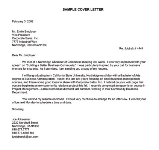 cover letter examples for a job