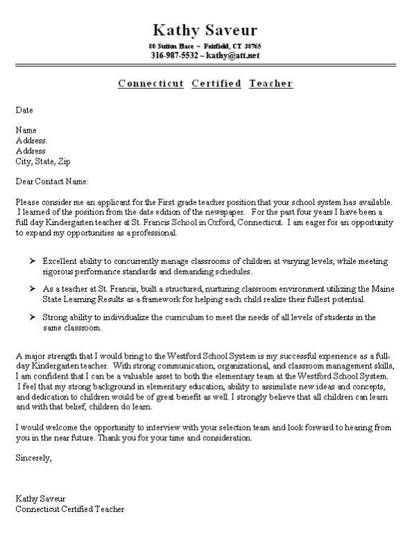 what goes on a cover letter for a resume first grade teacher cover letter example job search pinterest template