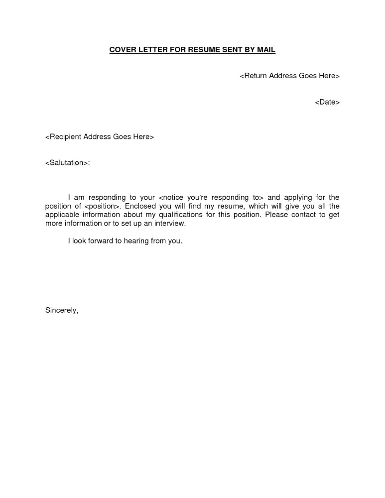sample cover letter for resume to be sent by email