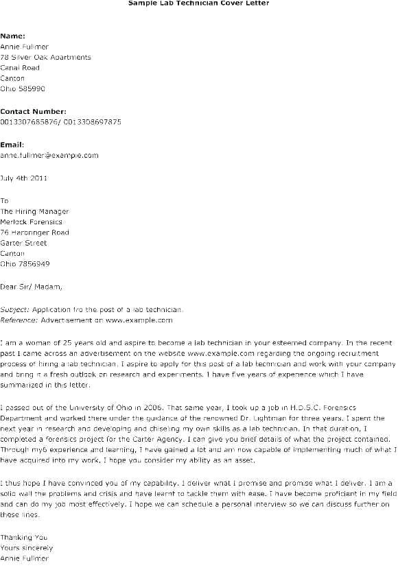 cover letter information