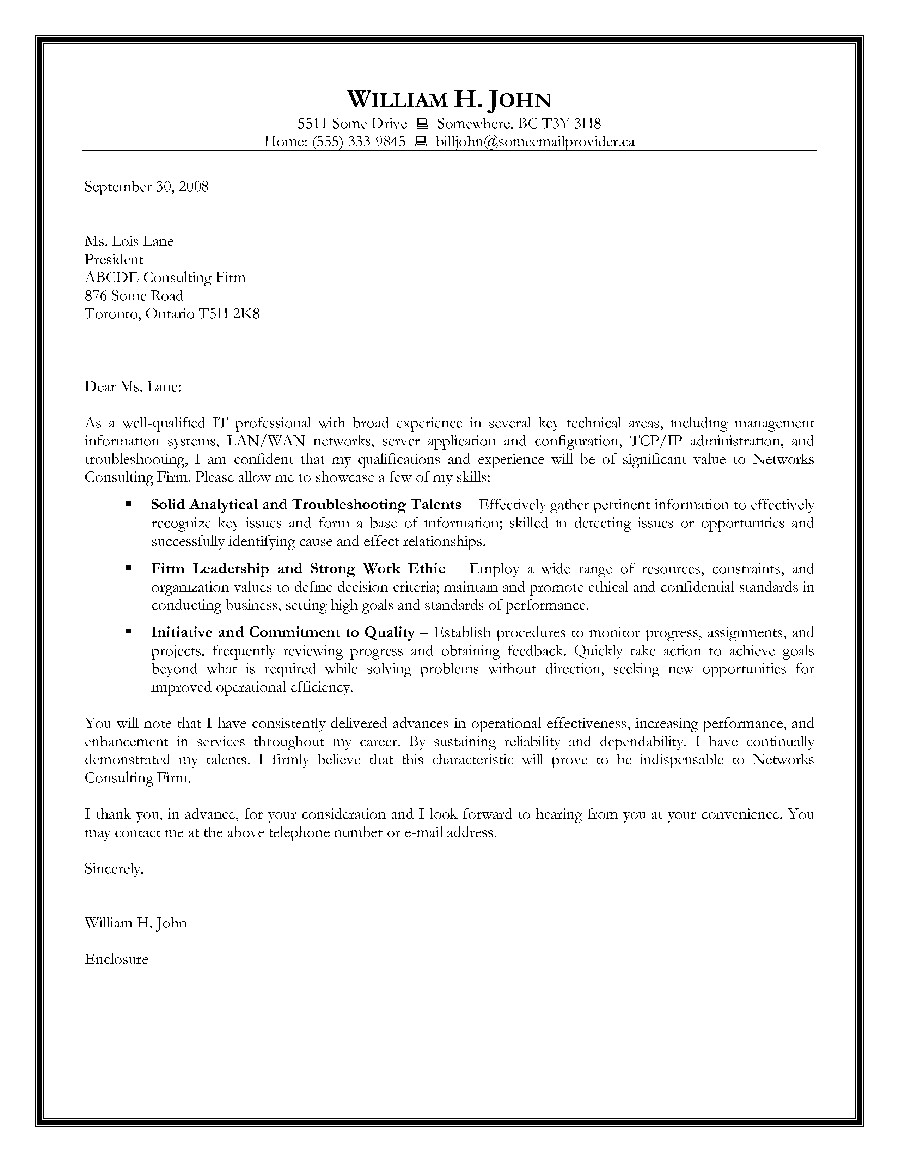 information technology cover letter examples