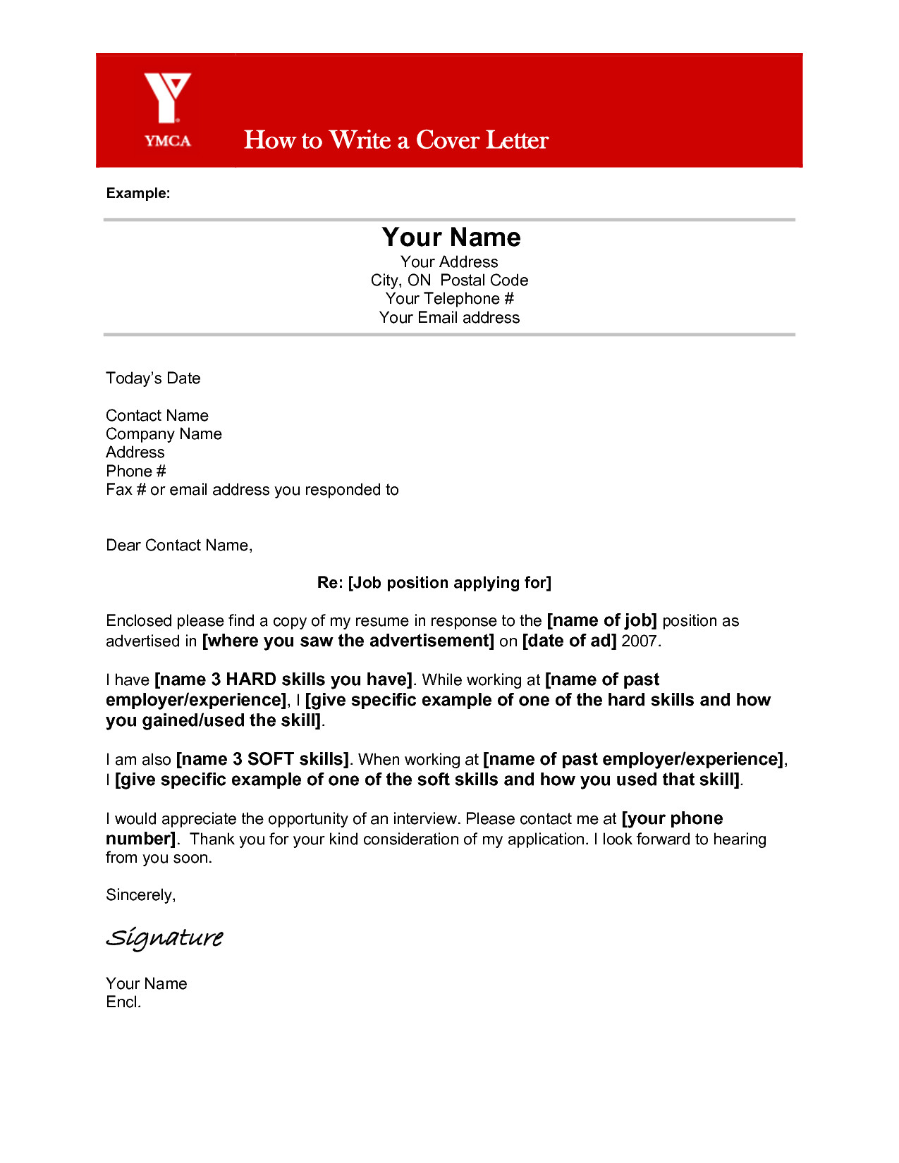 cover letter name