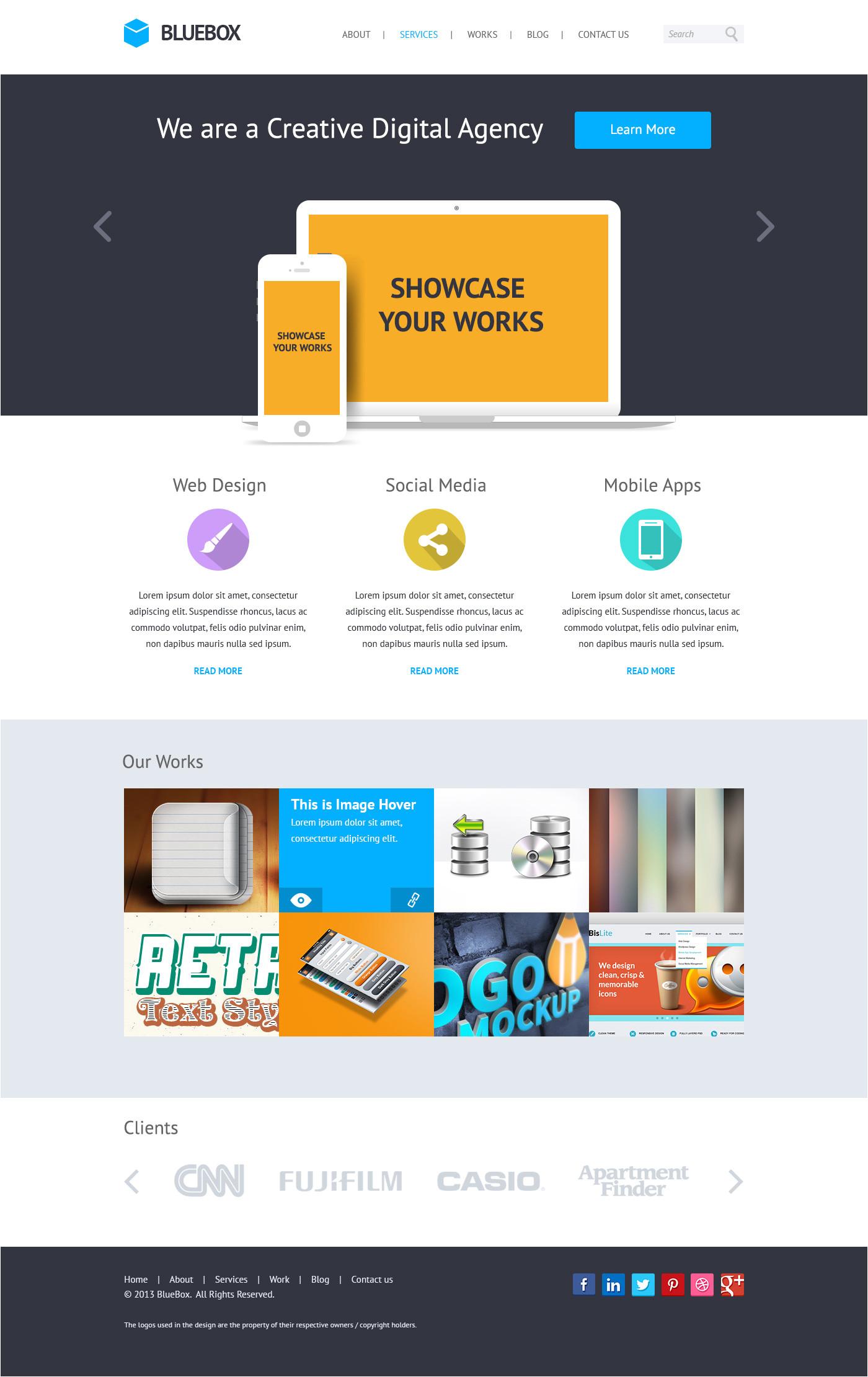 bluebox flat website psd templates design