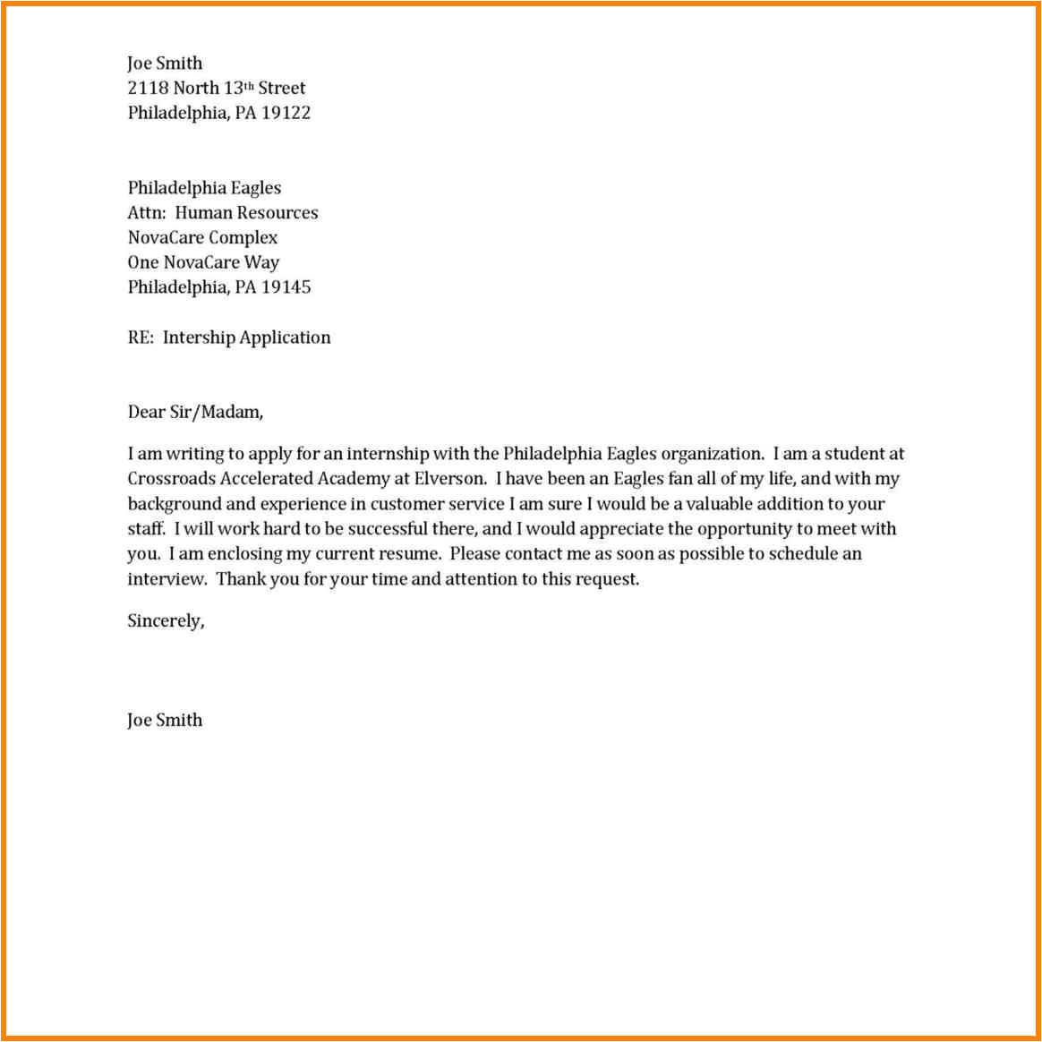 7 sample of short application letter