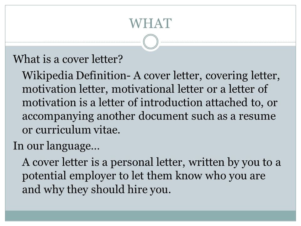definition of a cover letter