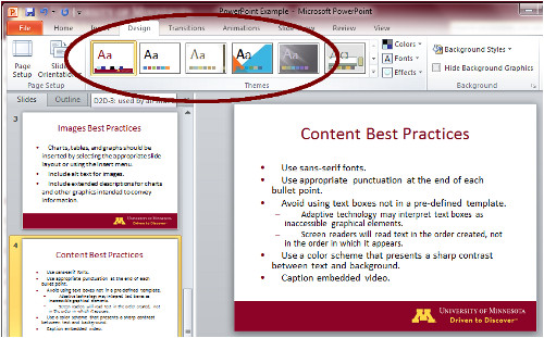 use a pre defined powerpoint slide template