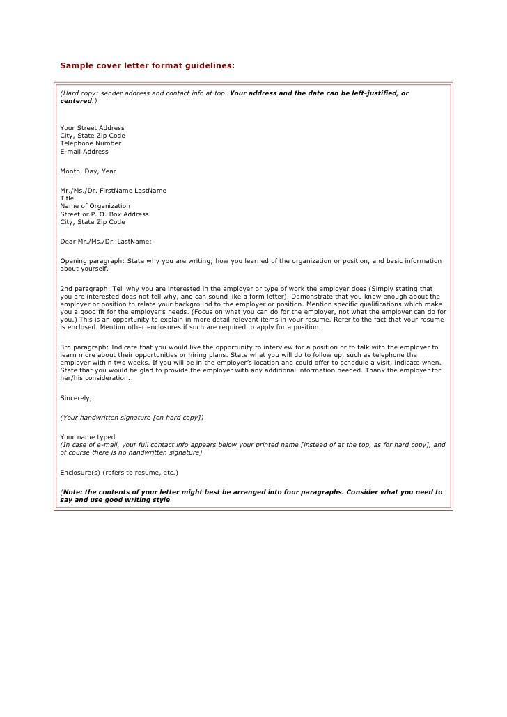What is the format for A Cover Letter Sample Cover Letter format Guidelines
