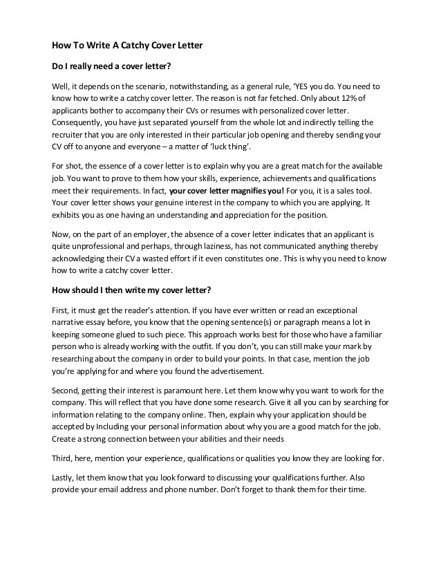 how to write a catchy cover letter template included