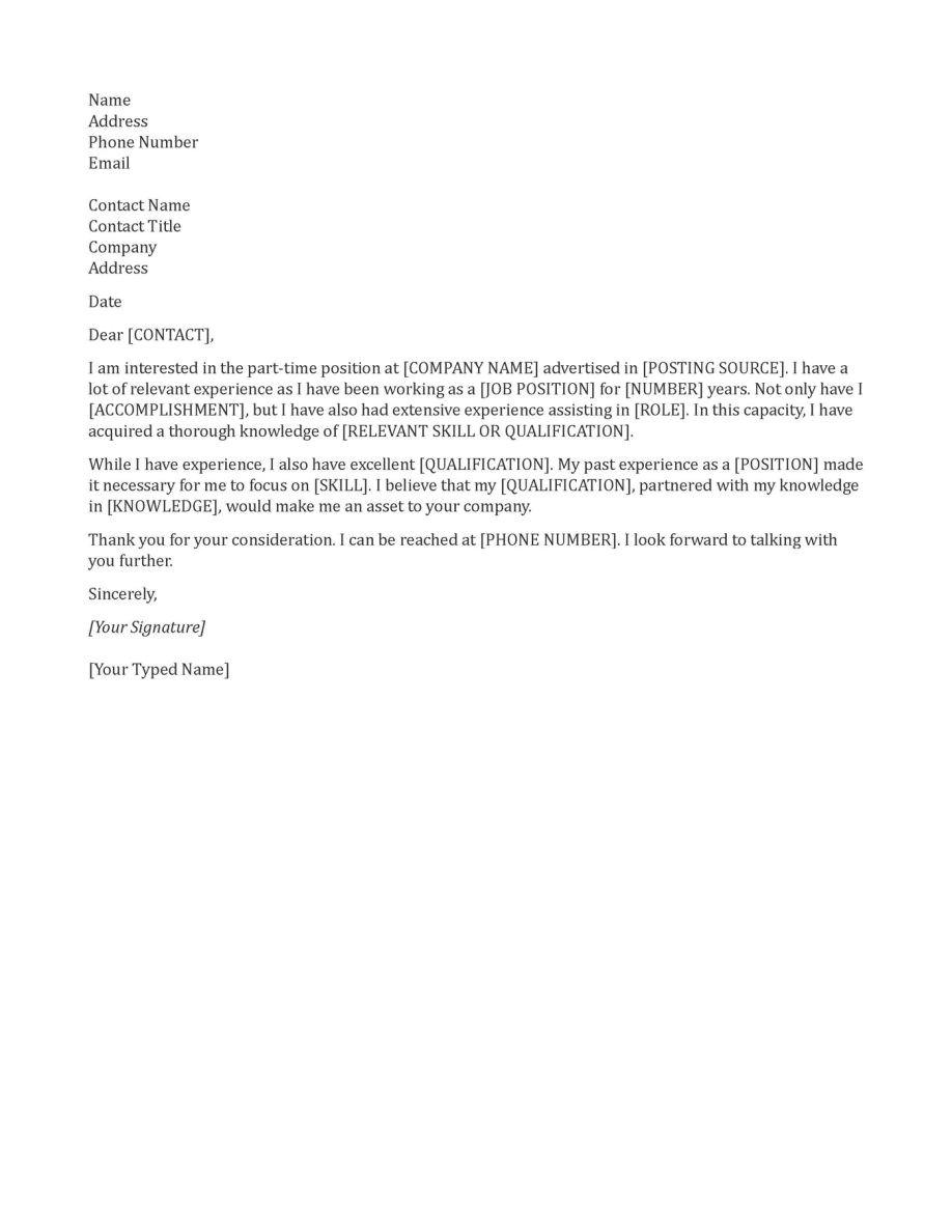 general cover letter for job