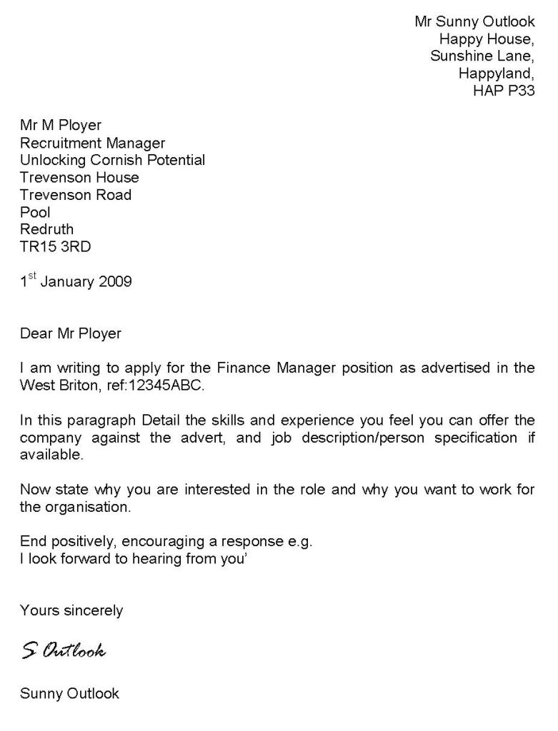 what should a cover letter say