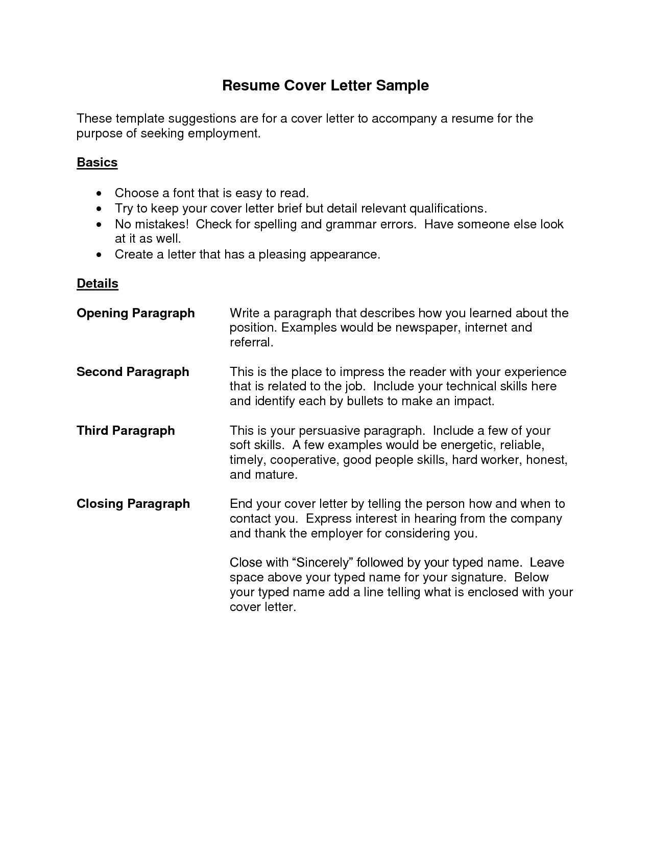 example of cover letter for resume template