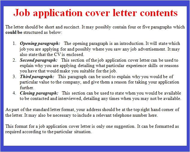 job application cover letter format