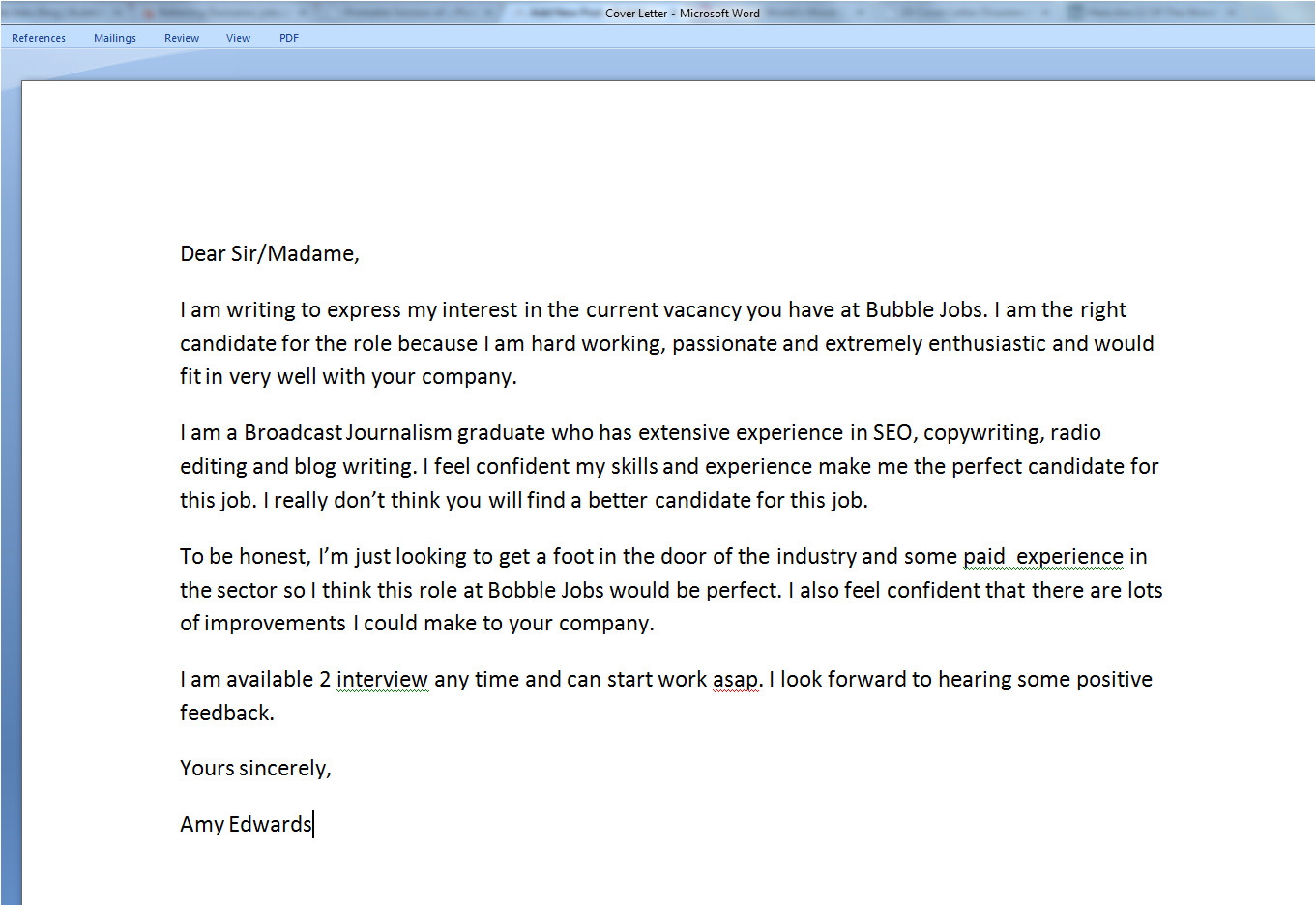 covering letter applying for job