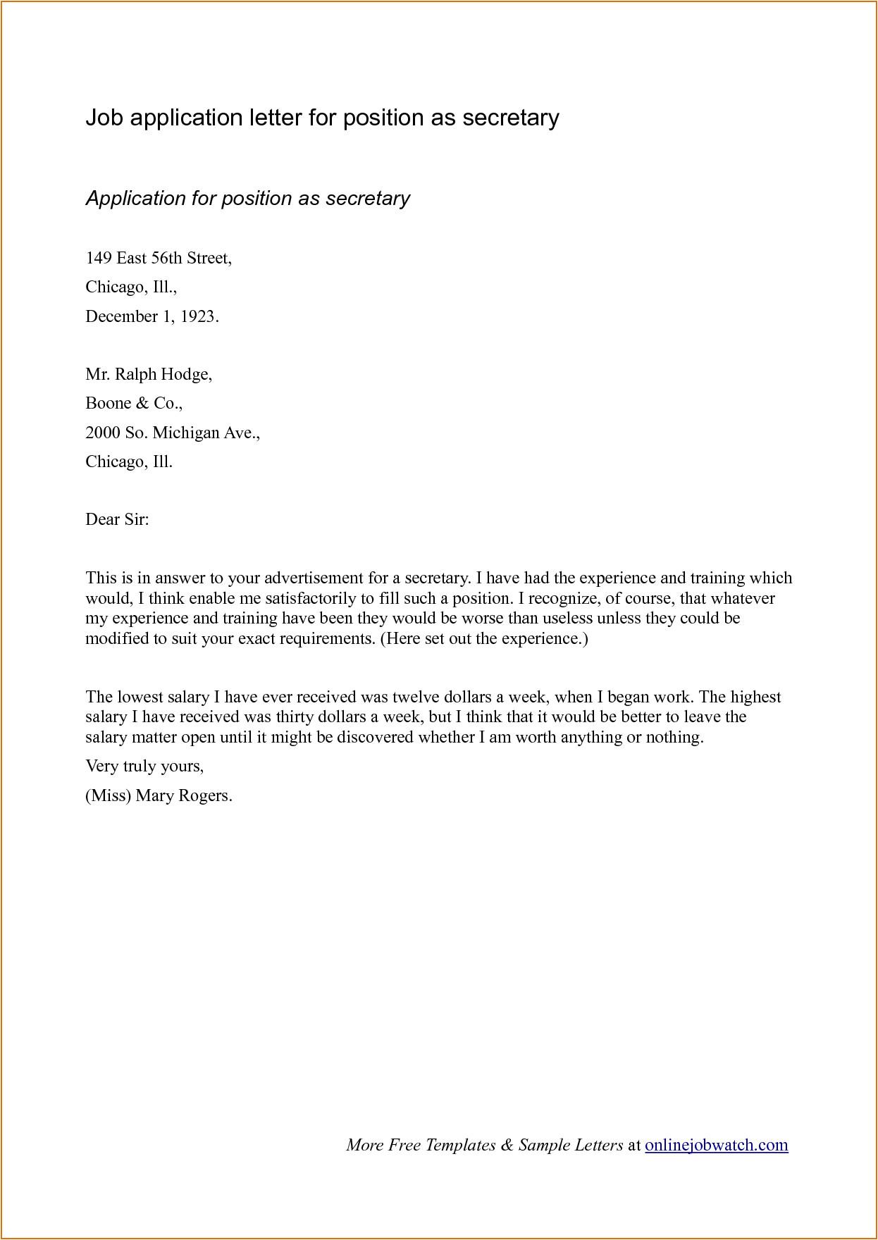 sample cover letter format for job application 3251