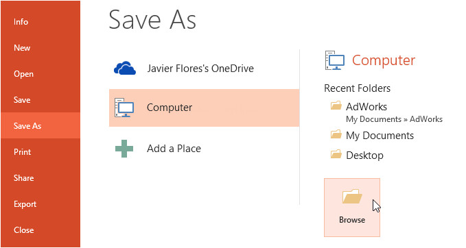 powerpoint 2013 saving and sharing