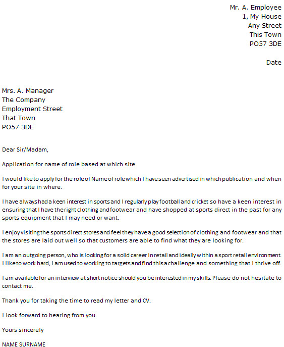 Who Do You Direct A Cover Letter to Sports Direct Cover Letter Example Icover org Uk