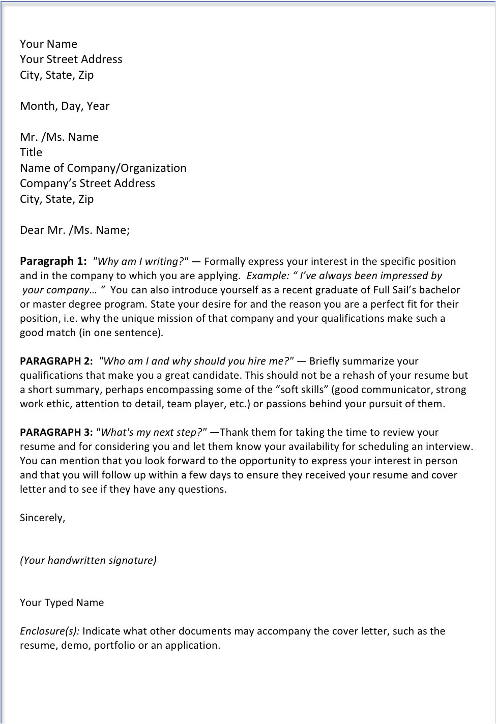 how to write cover letter without using