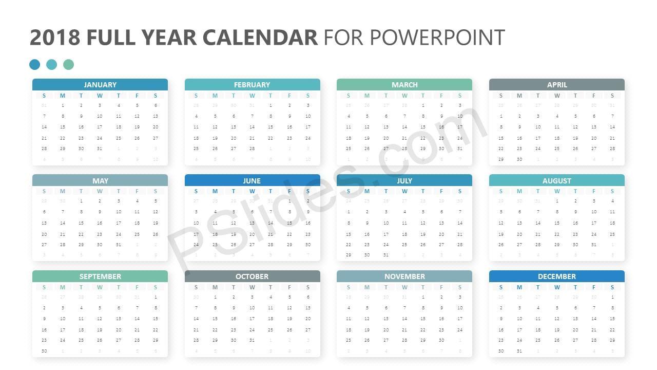 Whole Year Calendar Template 2018 Full Year Calendar for Powerpoint Pslides