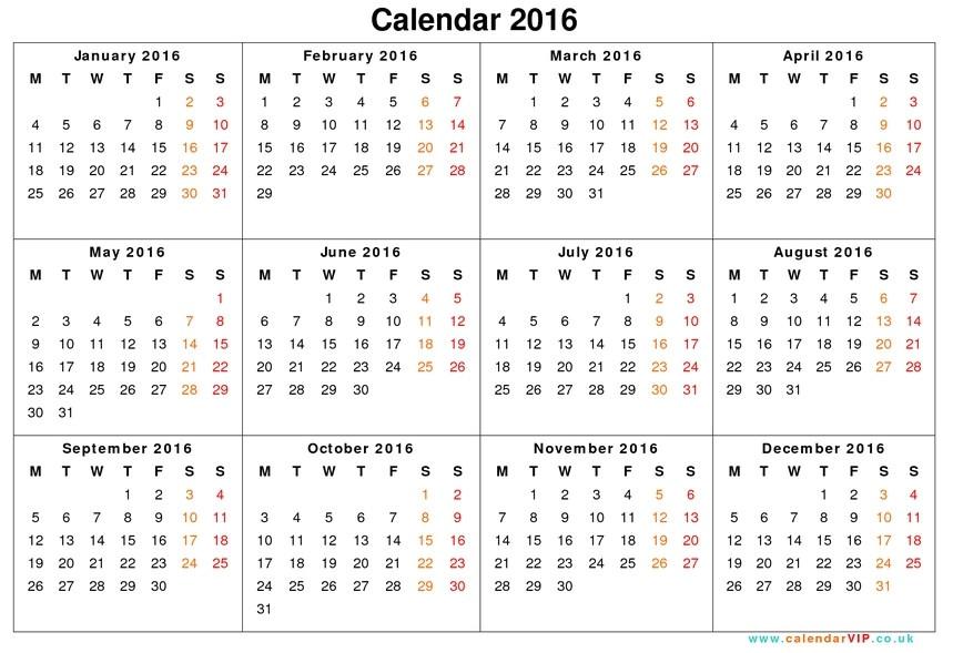 full year calendar template