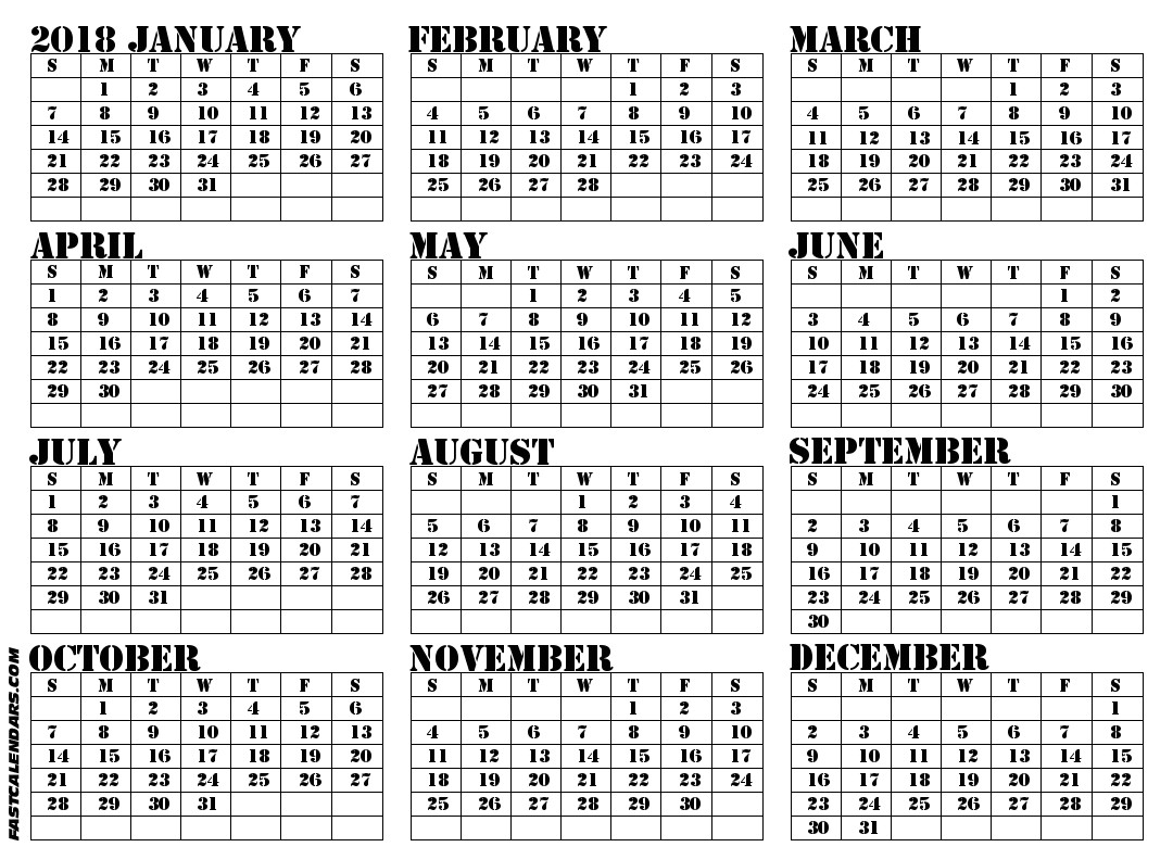 blank full year calendars