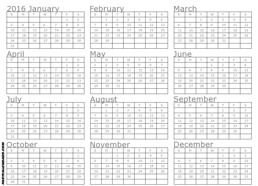 2015 whole year printable calendar