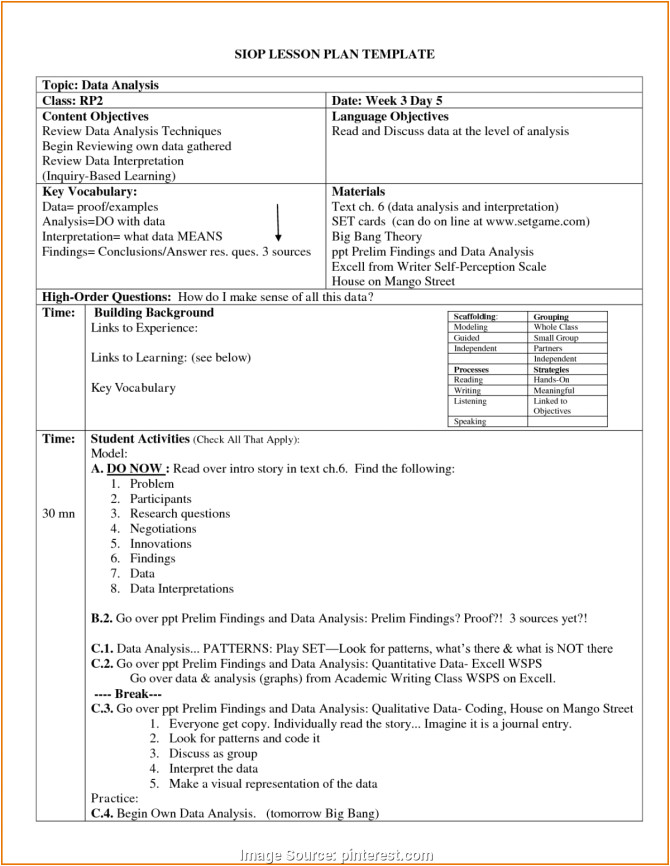 calla lesson plan template