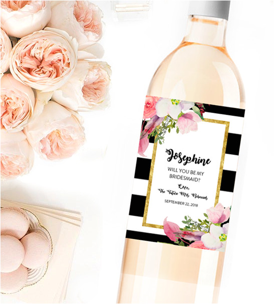 editable wine label will you be my bridesmaid black white gold watercolor flowers instant download printable pdf template