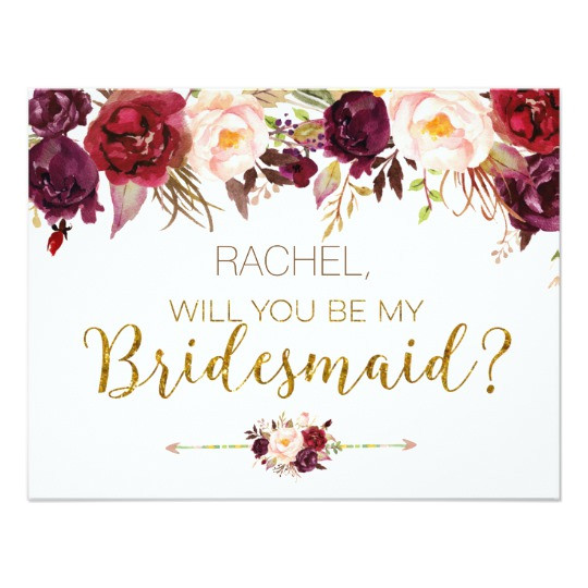 Will You Be My Bridesmaid Wine Label Template Floral Autumn Will You Be My Bridesmaid Card Zazzle Com