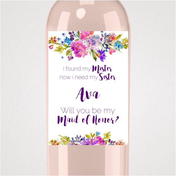 Will You Be My Bridesmaid Wine Label Template Garden Will You Be My Maid Of Honor Wine Label Template