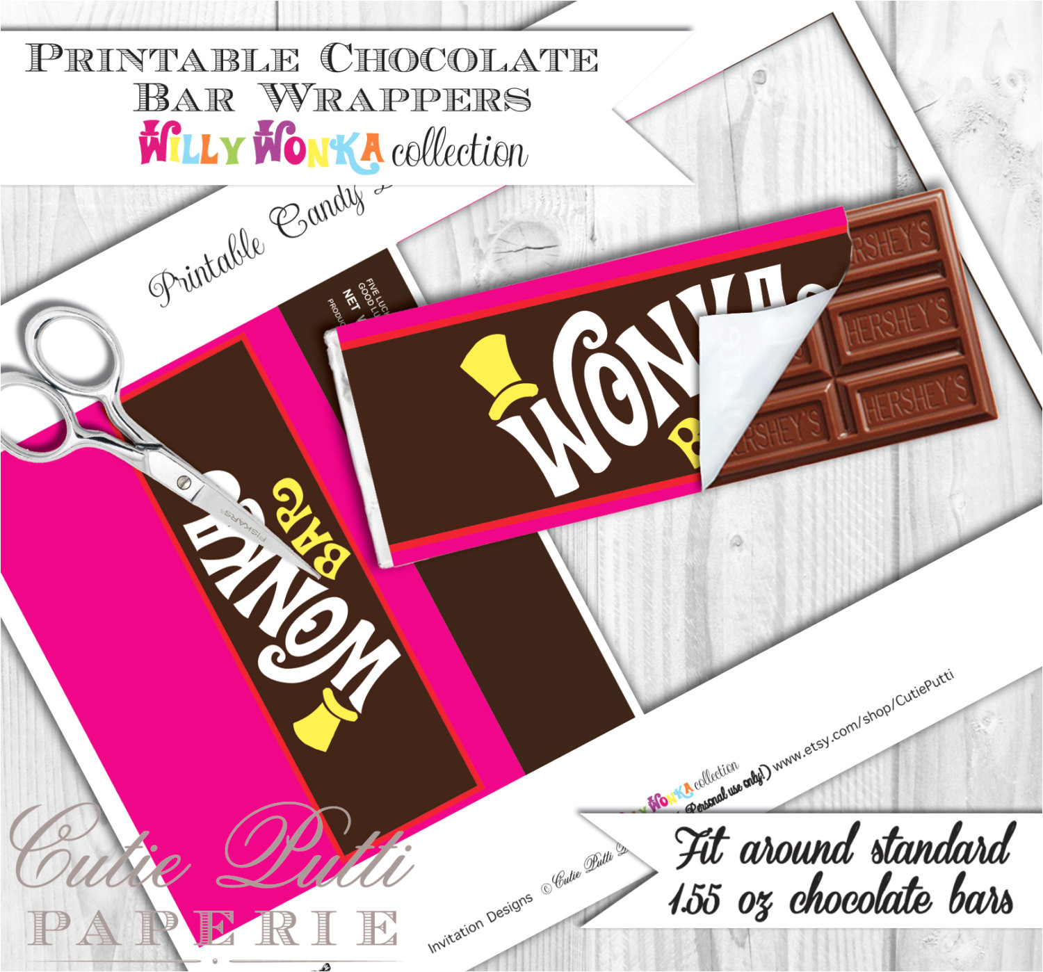 willy wonka party candy party printable