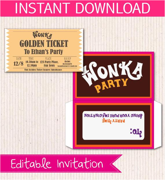 willy wonka birthday invite diy printable 4