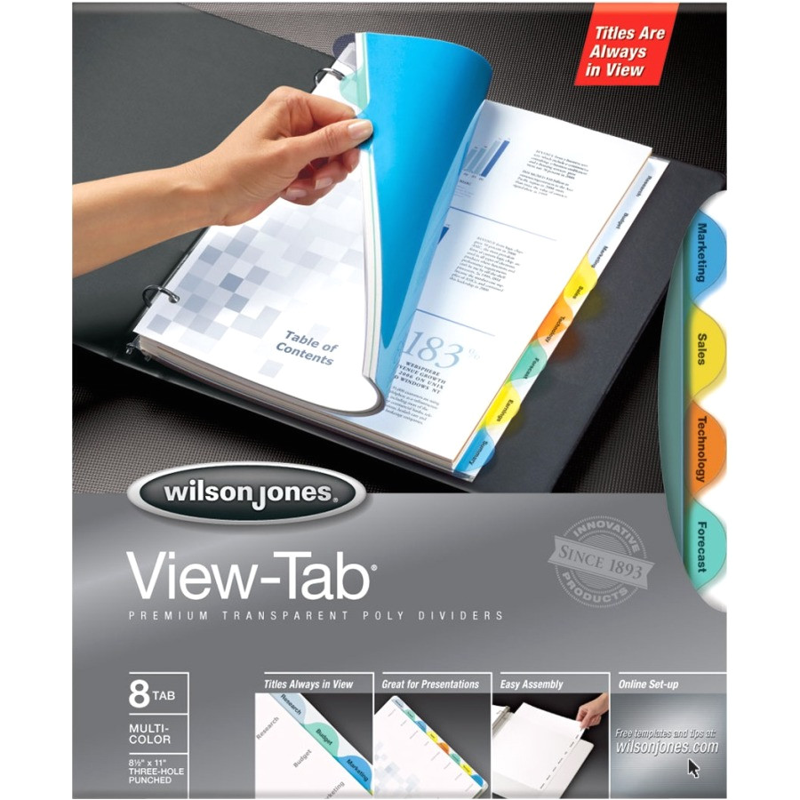 wilson jones view tab transparent divider wlj55063