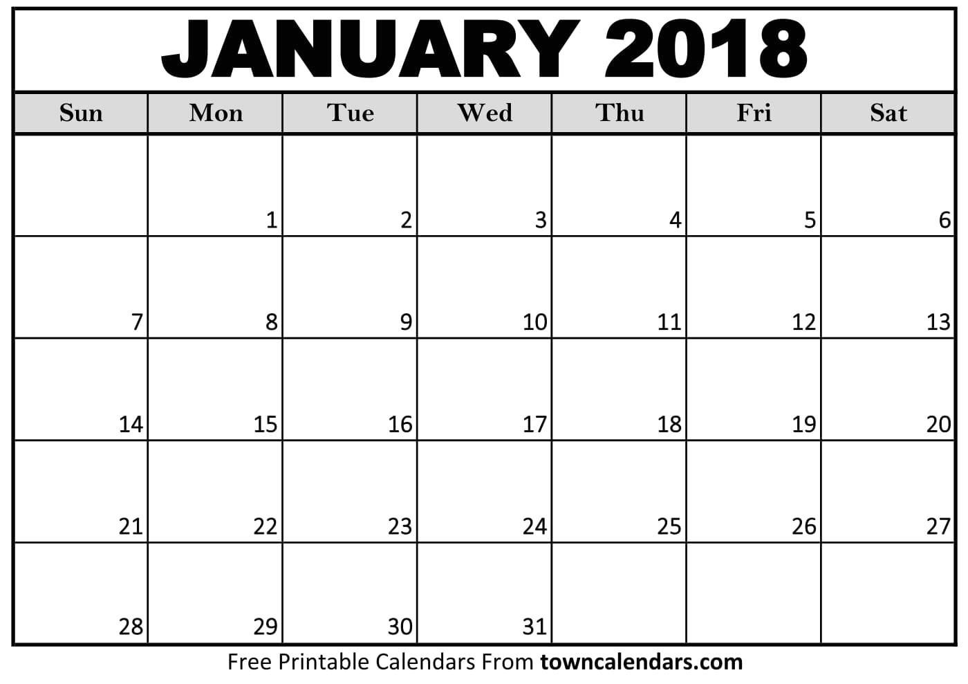 blank january 2018 calendar printable