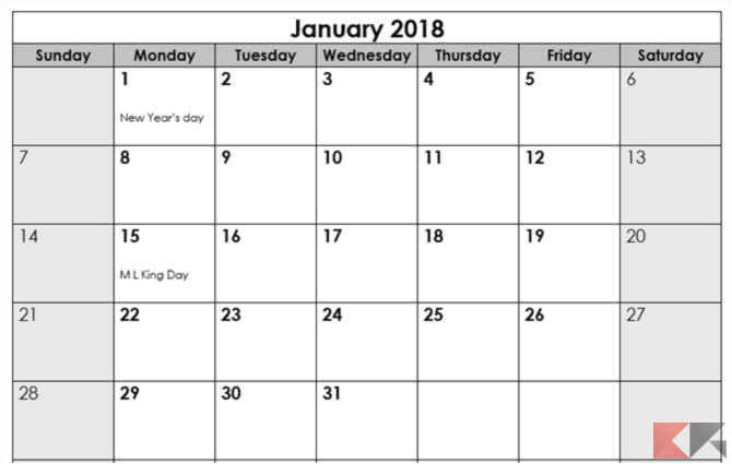 Window Calendar Template Template Calendario 2018 Per Microsoft Office Chimerarevo