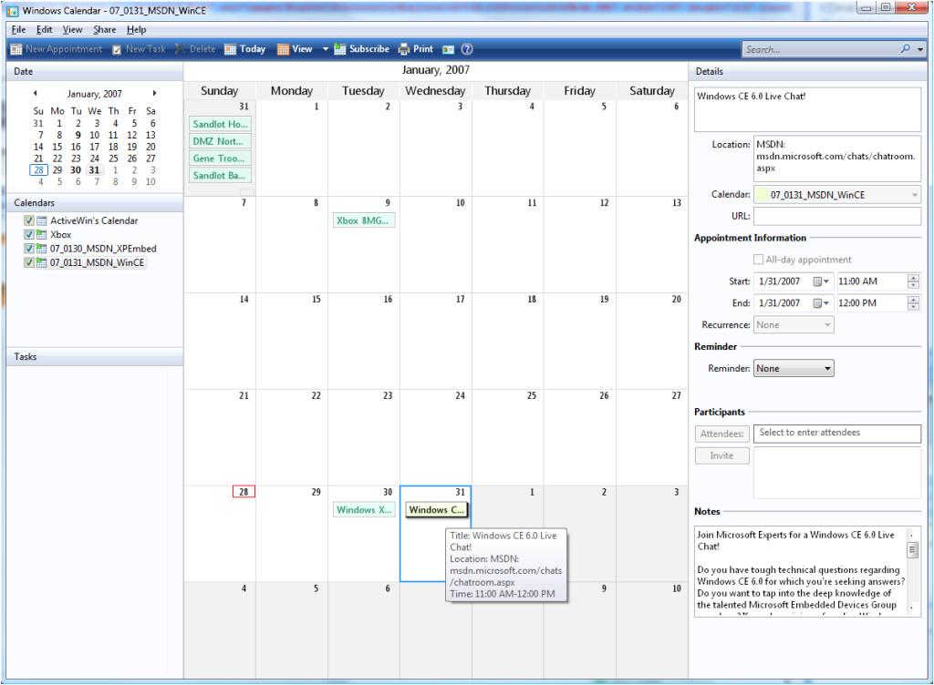 windows 7 calendar gadget