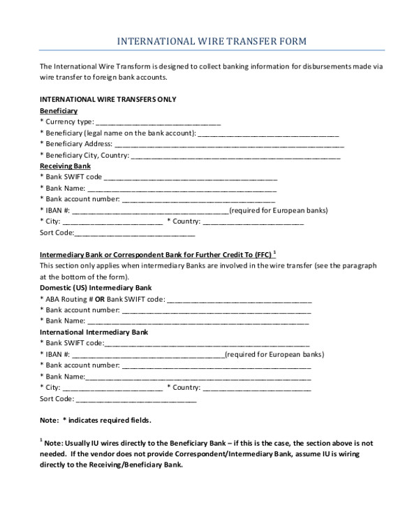 Wire Transfer Receipt Template Wire Transfer forms