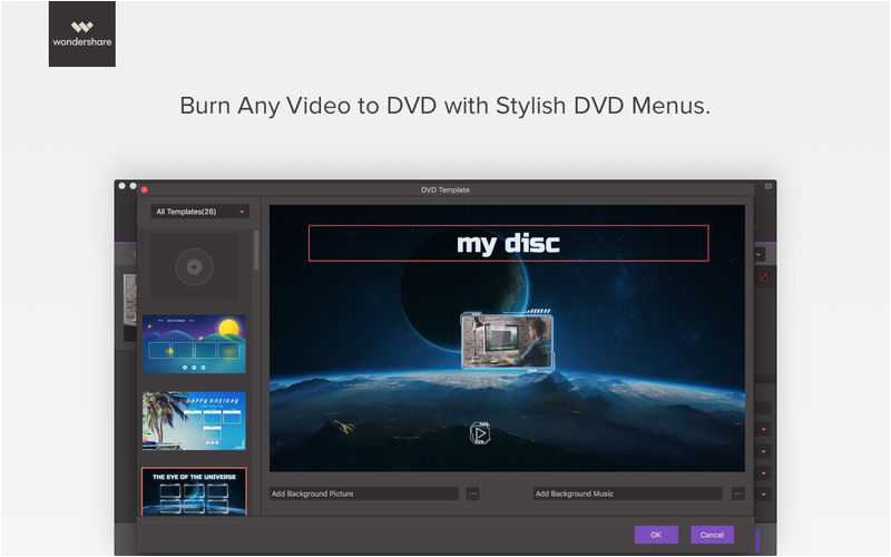 wondershare dvd templates