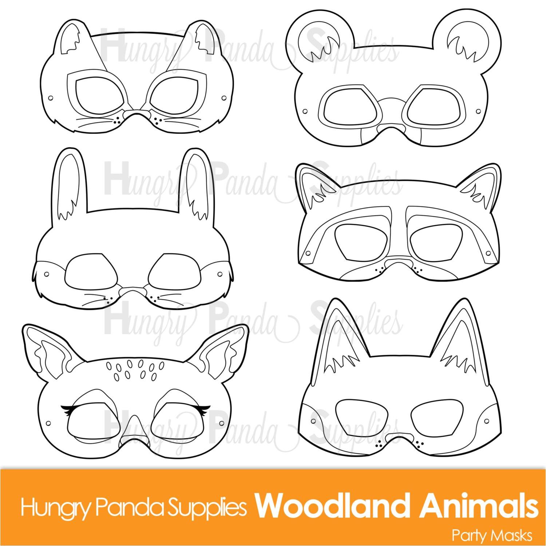 woodland forest animals coloring masks