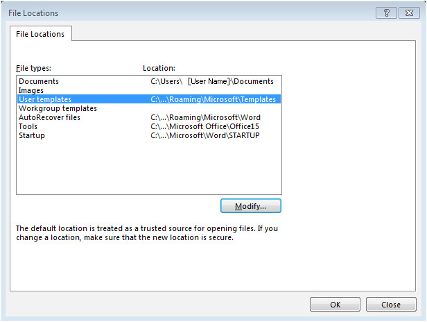 word 2013 templates location and filenew