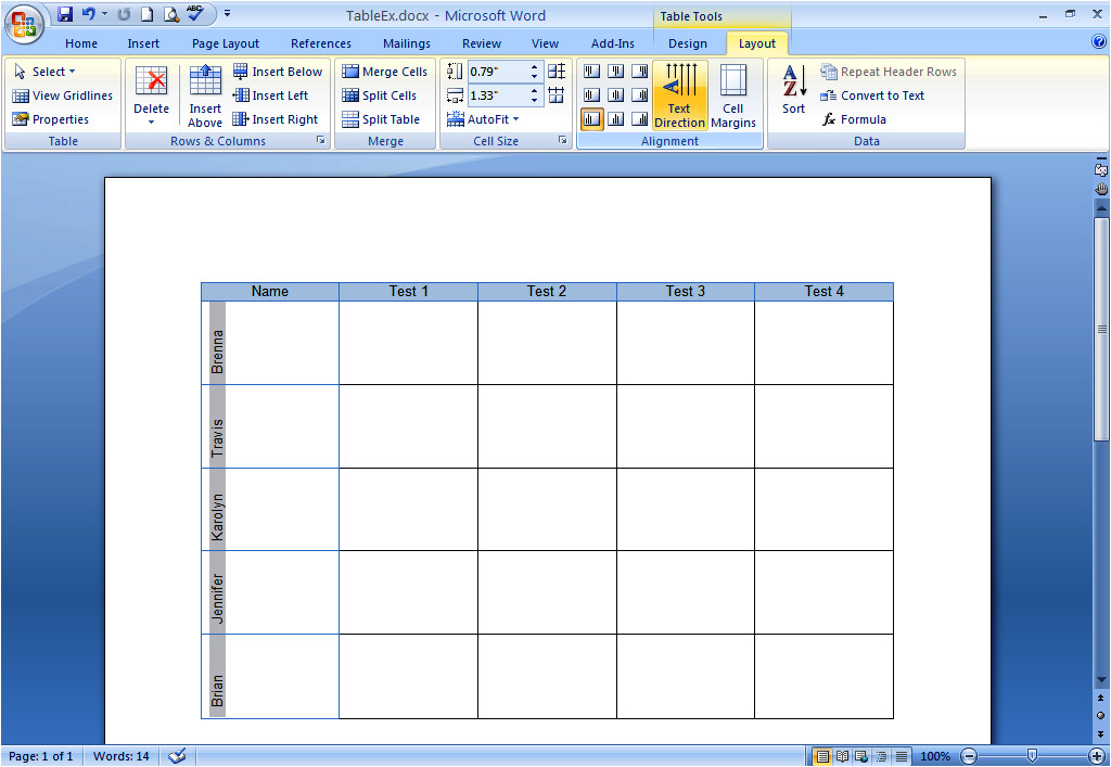 how do i create and format tables in word 2007