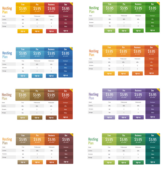 Word Tables Templates WordPress Pricing Table Plugin Pro