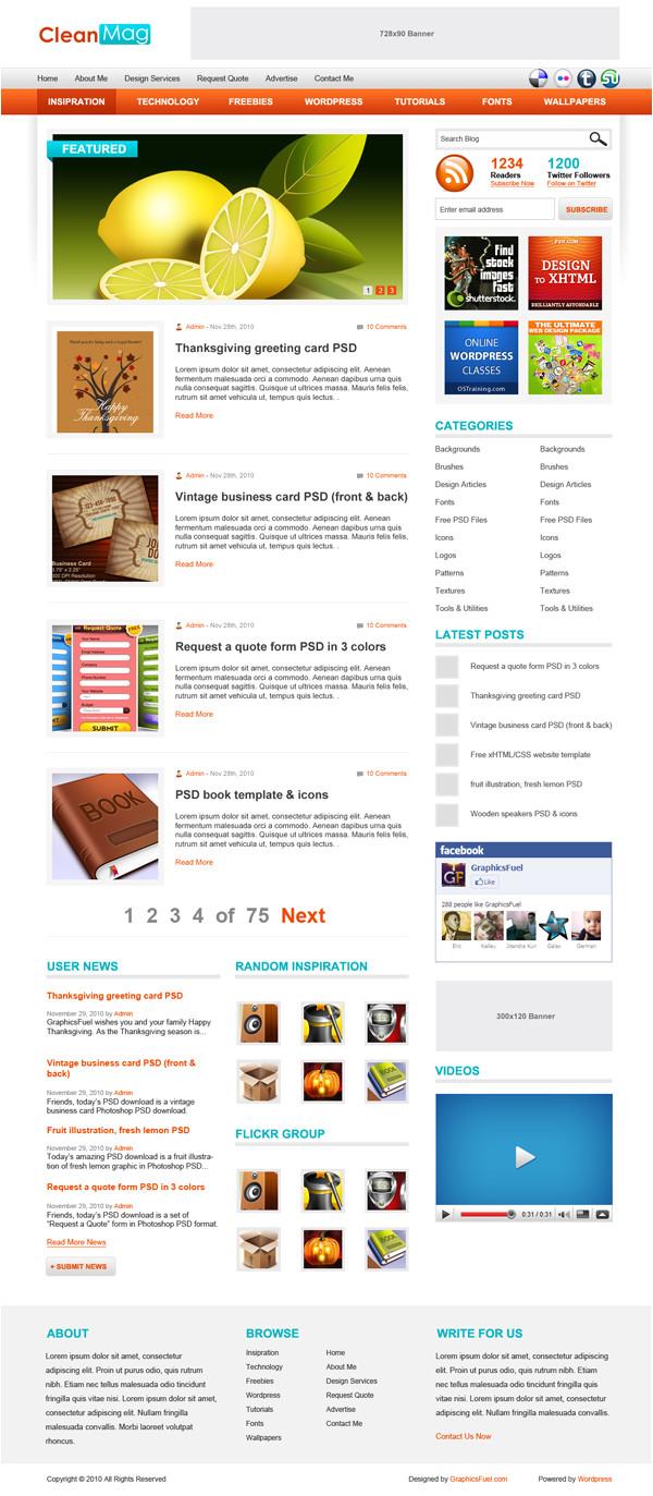 blog theme psd template