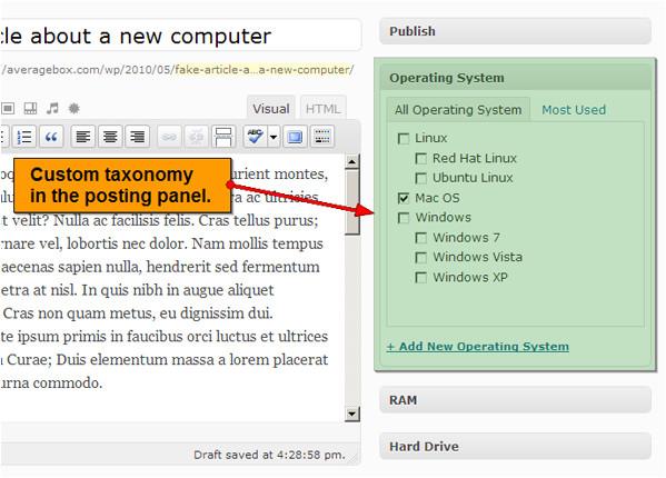 custom category template introducing 3 custom taxonomies